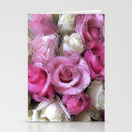 Glossy Roses Stationery Card