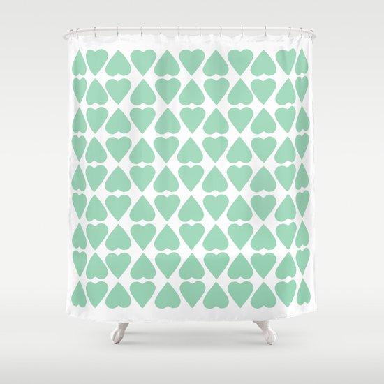 Diamond Hearts Repeat Mint Shower Curtain