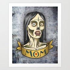 'Mom' Zombie Tattoo print Art Print