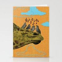 Giraffe & Singing Birds Print Stationery Cards