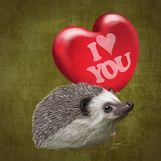 Hedgehog in love with a red balloon Art Print