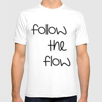 FOLLOW THE FLOW Mens Fitted Tee White SMALL