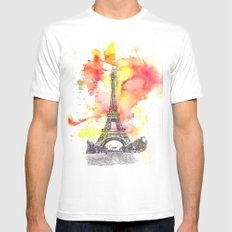Eiffel Tower in Paris France SMALL Mens Fitted Tee White
