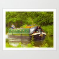 Canal Boat Painted Art Print