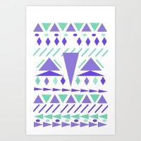 Arctic aztek white Art Print