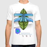 Dragonfly To The Clouds Mens Fitted Tee White SMALL