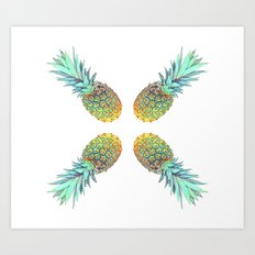 Quadri Tropical Pineapples Art Print