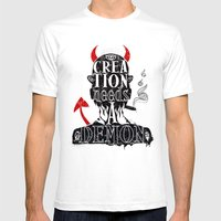 CREATION NEEDS A DEMON Mens Fitted Tee White SMALL