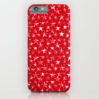 White stars abstract on bold red background illustration iPhone 6 Slim Case