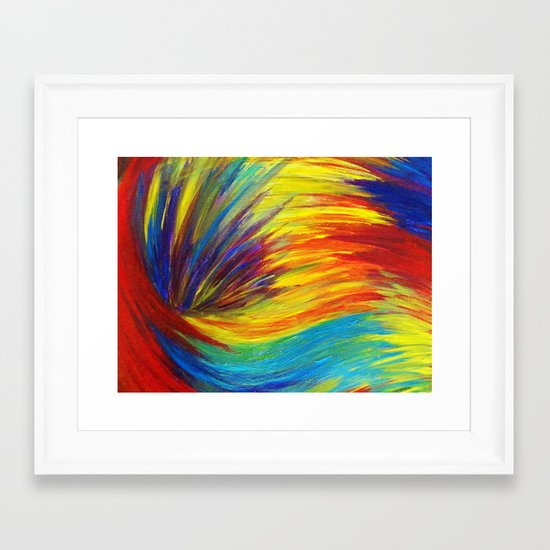 RAINBOW EXPLOSION - Vibrant Smile Happy Colorful Red Bright Blue Sunshine Yellow Abstract Painting  Framed Art Print