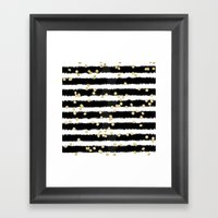 Modern black watercolor stripes chic gold confetti Framed Art Print
