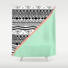 Block | Black White Aztec Pattern Mint Green Color Block Shower Curtain