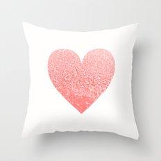 CORAL HEART Throw Pillow