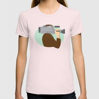 cameraman movie video camera side retro Womens Fitted Tee Light Pink SMALL