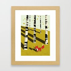 fox in birchland Framed Art Print