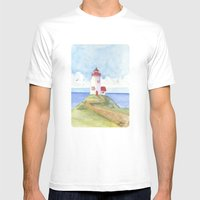 Peaceful Lighthouse Mens Fitted Tee White SMALL