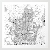Kyoto Map Gray Art Print