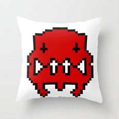 Pixel Invader : Red Throw Pillow