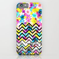 iPhone & iPod Case featuring BLACK CHEVRON WITH FLOWERS by Ylenia Pizzetti