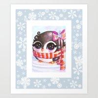 Snowy Penguin  Art Print