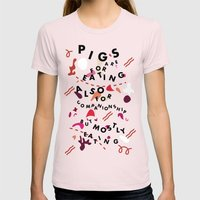 Pig Ate My Pizza Womens Fitted Tee Light Pink SMALL