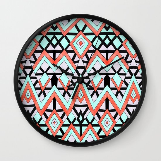 Geometric Mountains Wall Clock