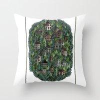 Little Forest Town Throw Pillow