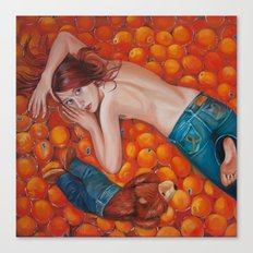 Lines of Me. Scarfy & Oranges.  Canvas Print