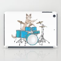 Cat Playing Drums - Blue iPad Case