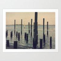 Pier Pilings in Southport Harbor Art Print