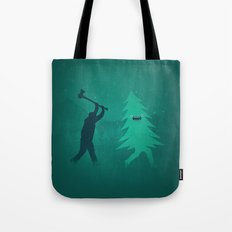 Funny Christmas Tree Hunted by lumberjack (Funny Humor) Tote Bag
