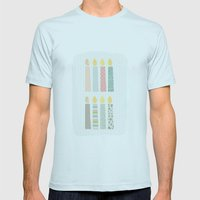 candles pattern Mens Fitted Tee Light Blue SMALL