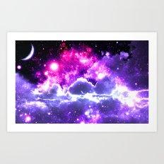 Galaxy Clouds Fuchsia Pink Purple Art Print