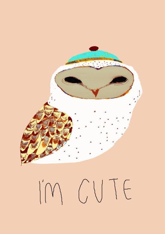 i'm cute owl illustration  Art Print