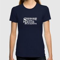 Support Your Local Blacksmith Womens Fitted Tee Navy SMALL