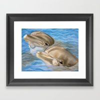 Dolphins In Pastel Framed Art Print