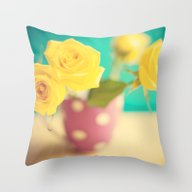 Close Up Yellow Roses Throw Pillow