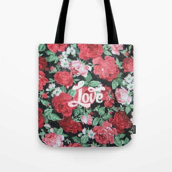 Red Pink Roses Chic Love Vintage Floral Pattern Tote Bag
