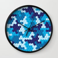 CUBOUFLAGE BLUE Wall Clock