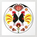 Polish Folk With Decorative Roosters Art Print