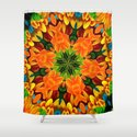 Orange Flower Garden Kaleidoscope Shower Curtain