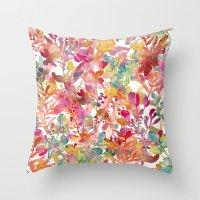 watercolor meadow Throw Pillow