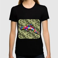 DOLPHIN COLORS 3D Womens Fitted Tee Black SMALL