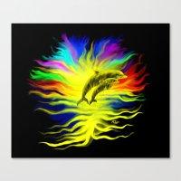 Dolphins in the Sunshine - Fantasy Rainbow-Art Canvas Print