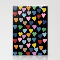 Hearts #3 Black Stationery Cards