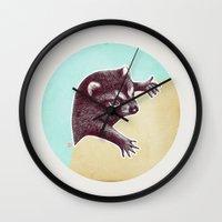 Climbing Raccoon Wall Clock