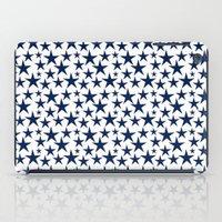 Blue stars on white background illustration iPad Case
