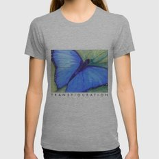 Blue Butterfly: Transfiguration Womens Fitted Tee Athletic Grey SMALL