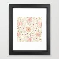 Folky Flowers Framed Art Print