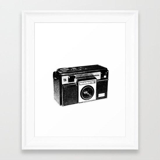 Retro Camera Sketch B/W Framed Art Print